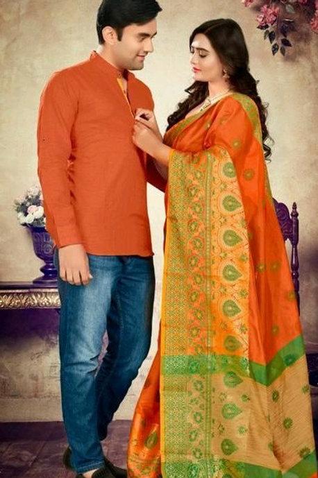PB Kashvi Fancy Men's Kurta & Sarees Combo 06
