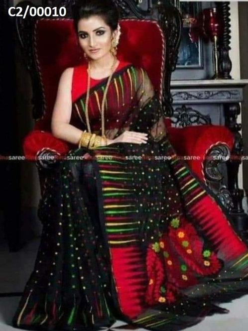 Hazar Butty Jamdani Saree Black and Red