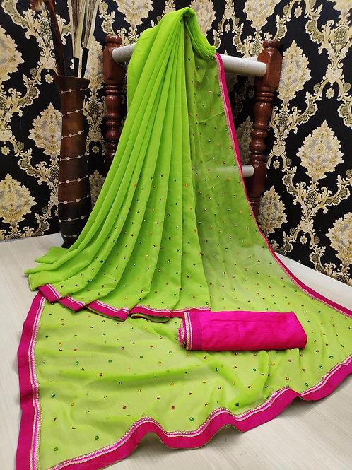 KFS Multi Embroidery Stone Work Saree Green