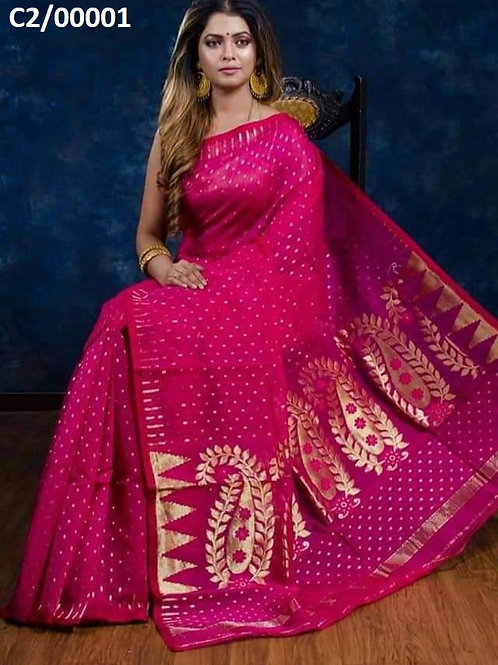 Hazar Butty Jamdani Saree Magenta