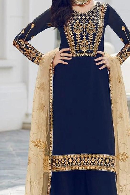 KFS Faux Georgette Suits Nevy Blue