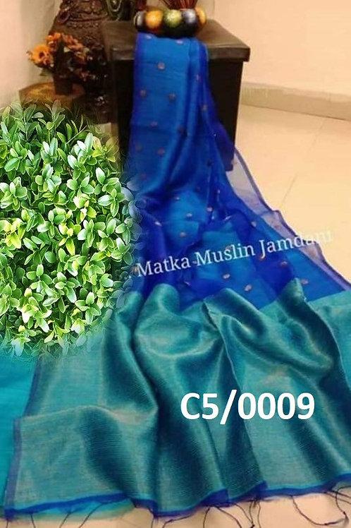 Basic Matka Muslin Jamdani Saree  Deep Blue