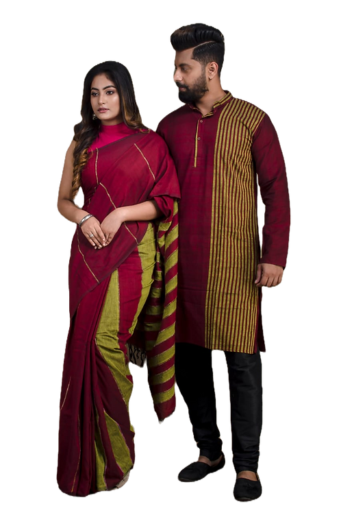 Pure cotton  handloom saree with cotton Bicolour kurta combo