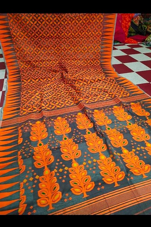 IK Minakari Jamdani Saree Orange