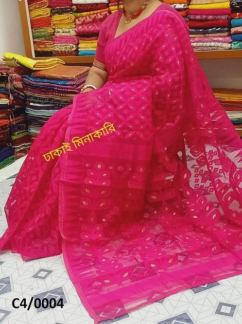 Minakari Jamdani Saree Deep Pink