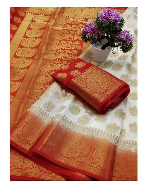 PV_03_Zari woven Banarasi Silk Saree White and Red