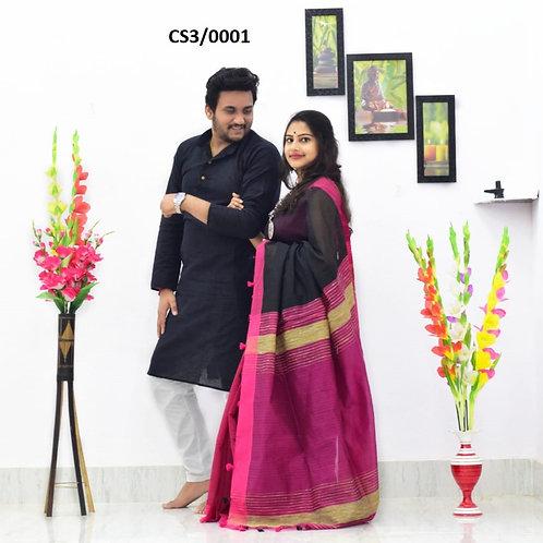Plain Pure cotton kurta With Cotton Saree black and pink