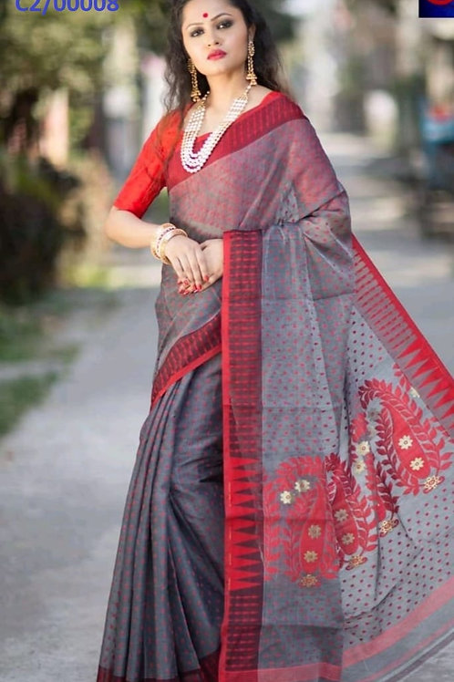 Hazar Butty Jamdani Saree Grey and Red