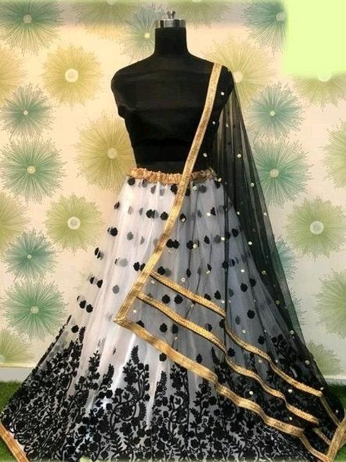 PB Banita Fashionable Women Lehenga White & Black