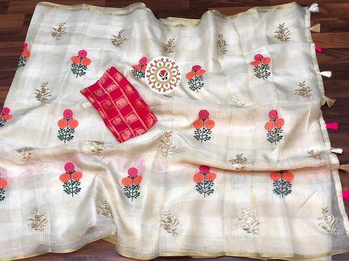 KFS Embroidery Doria Saree 01