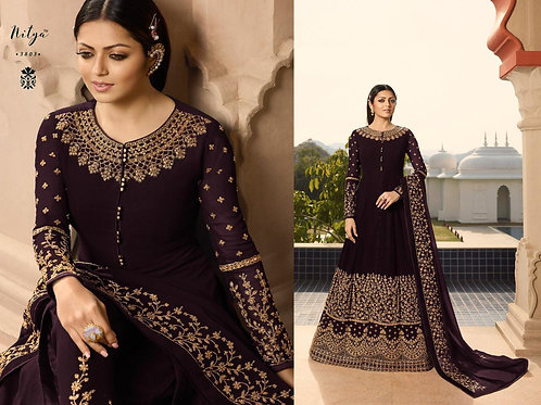 VRDS Fox Georgette Embroidery and Stone Work Gown 04