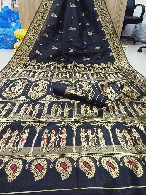 KFS  Embroidery Jacquard Saree 02
