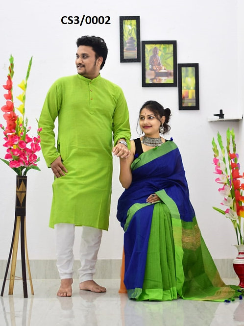 Plain Pure cotton kurta With Cotton Saree Green and Blue