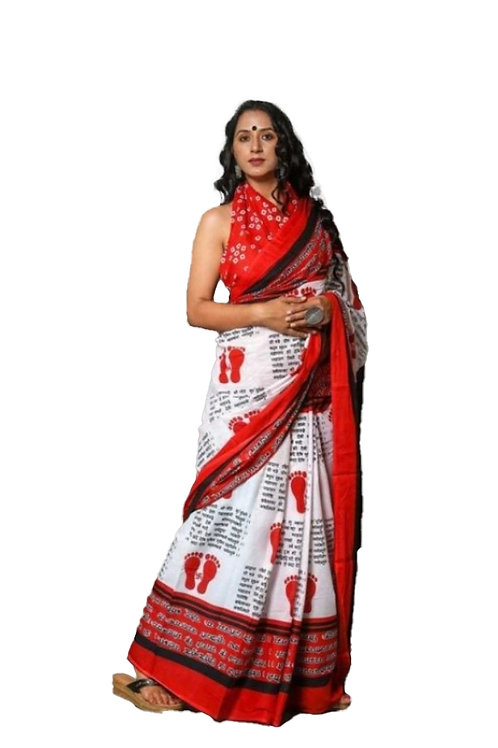 Foot Print Red and White Cotton Mulmul saree with Blouse Piece