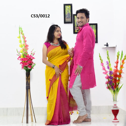 Plain Pure cotton kurta With Cotton Saree   Pink and Yellow