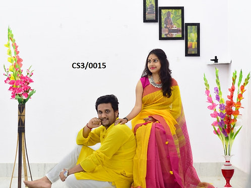 Plain Pure cotton kurta With Cotton Saree Yellow and pink