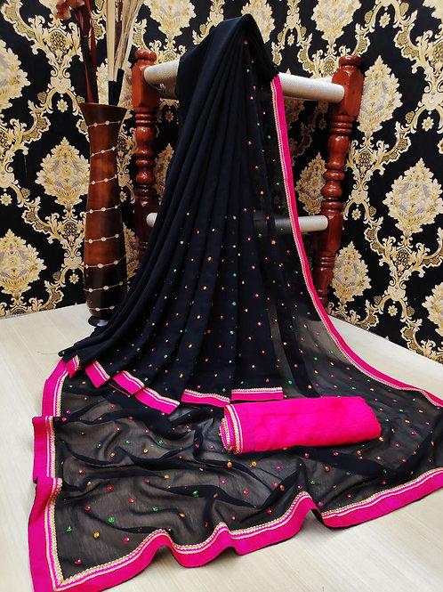 KFS Multi Embroidery Stone Work Saree Black