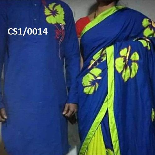 Khadi cotton applique work kurta with Saree  Blue