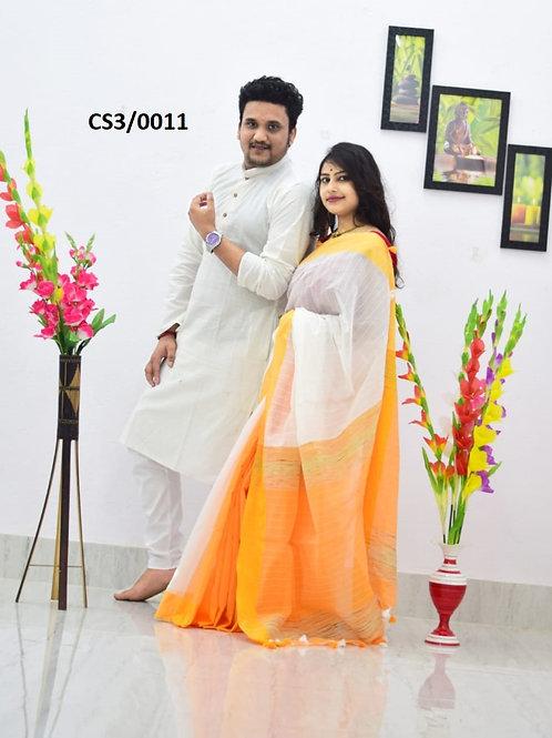 Plain Pure cotton kurta With Cotton Saree White and yellow