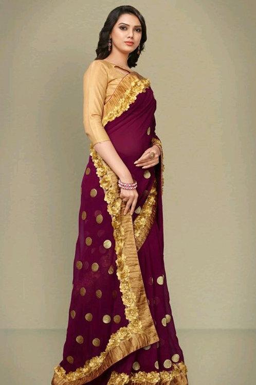 PS Designer Georgette Sarees Purple