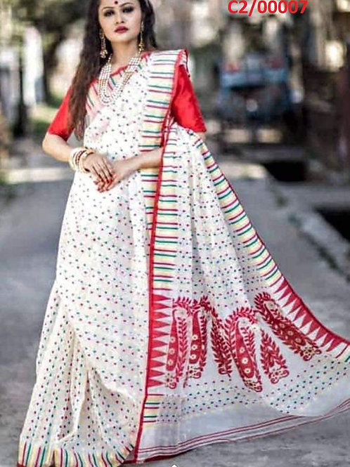 Hazar Butty Jamdani Saree White and Red
