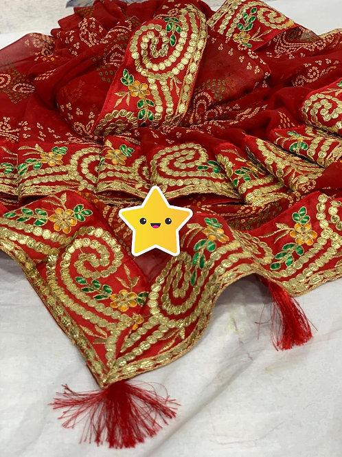 KFS  Gotta Embroidery BorderBandhani saree 02