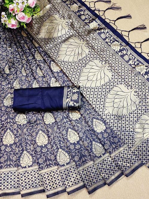 KFS Leaf Jacquard Silk Saree 02