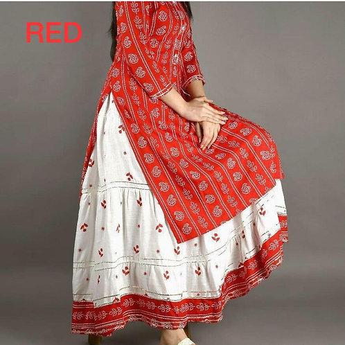 VRS Fabric Rayon Skirt & Top Red