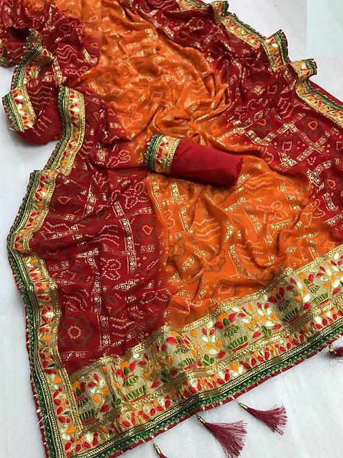 KFS Bandhani Saree Mills Print 01