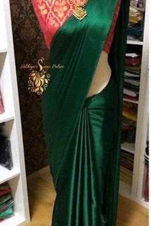 PS Satin Silk Saree Bottle Green