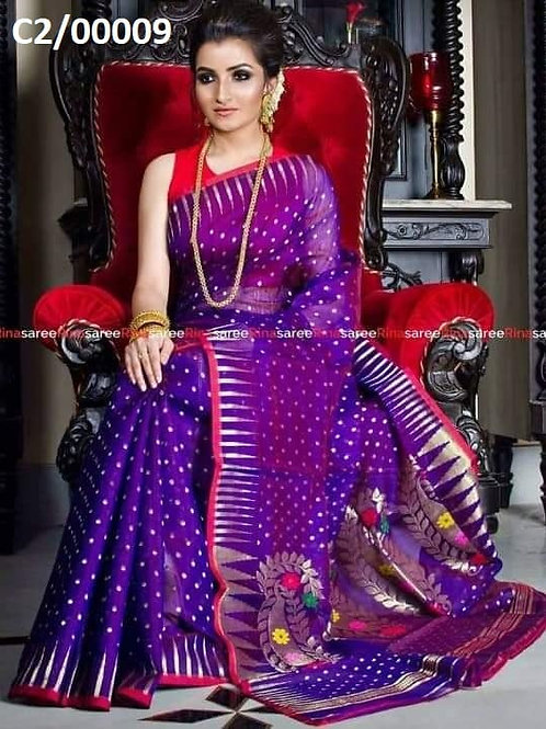 Hazar Butty Jamdani Saree Violet