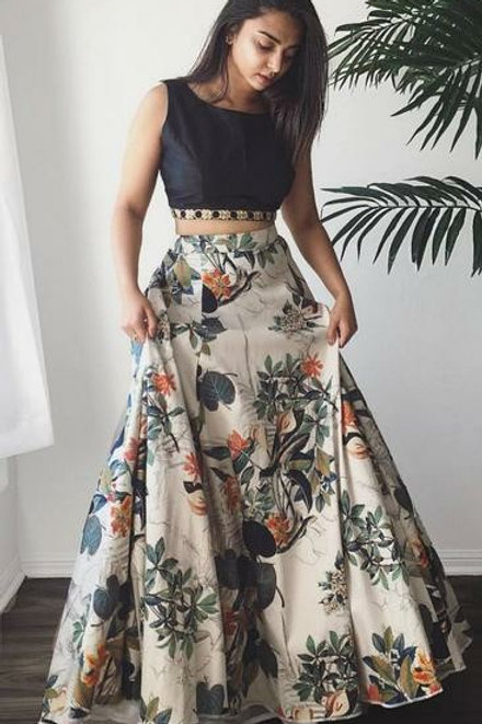 PB Banglori Silk Printed Party wear Skirt Set 03
