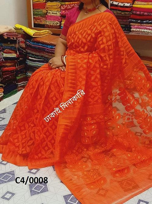 Minakari Jamdani Saree  Orange
