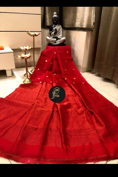 Basic Matka Muslin Jamdani Saree Red