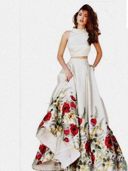 PB Banglori Silk Printed Party wear Skirt Set 02