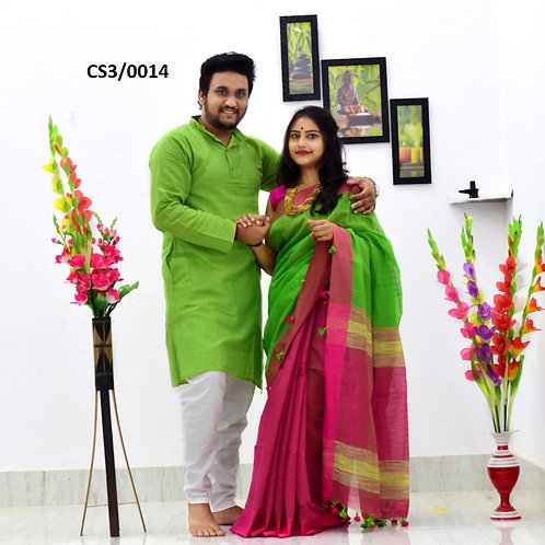 Plain Pure cotton kurta With Cotton Saree green and pink