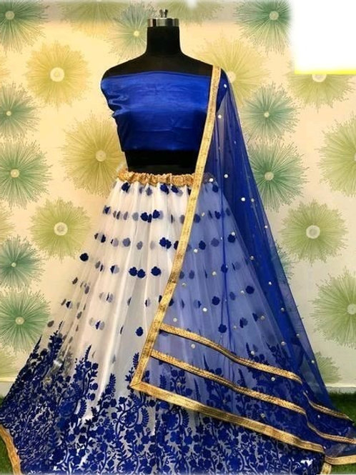 PB Banita Fashionable Women Lehenga  Blue & White