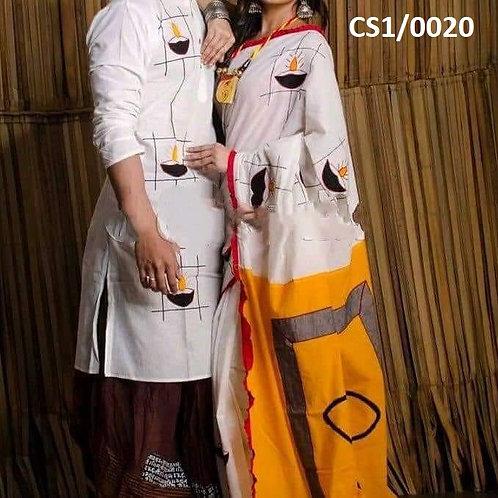 Khadi cotton applique work kurta with Saree  white and yellow