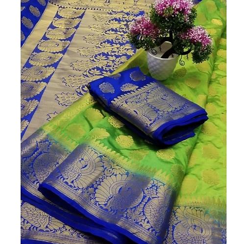 PV_04_Zari woven Banarasi Silk Saree Green and Blue