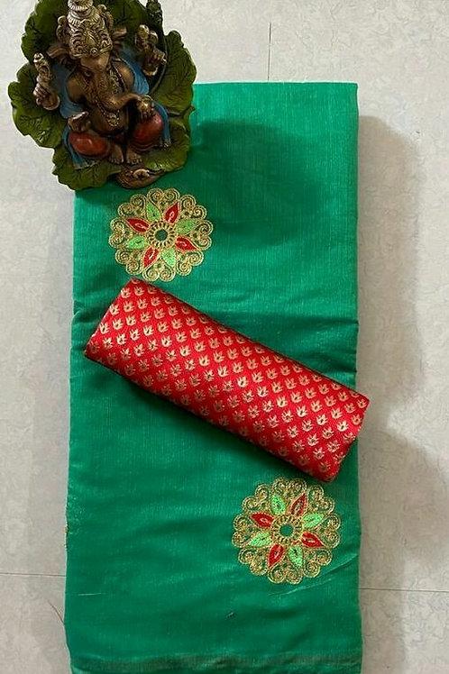 PS Chanderi CottonSaree Green & Red