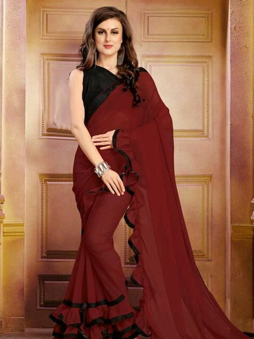 PS  Fancy Georgette Sarees Chocklet