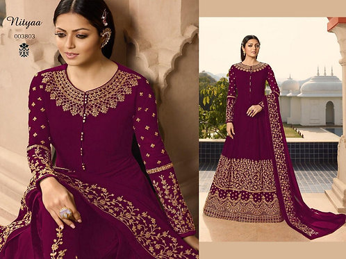 VRDS Fox Georgette Embroidery and Stone Work Gown 01