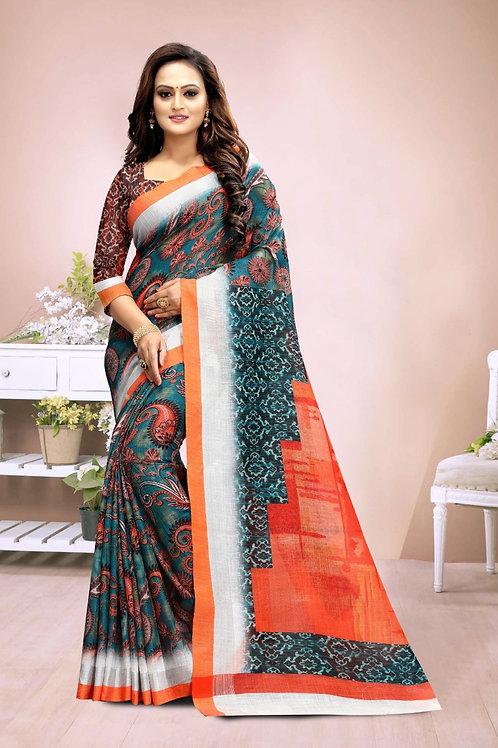 ATLS Printed Sagun Linen saree 04