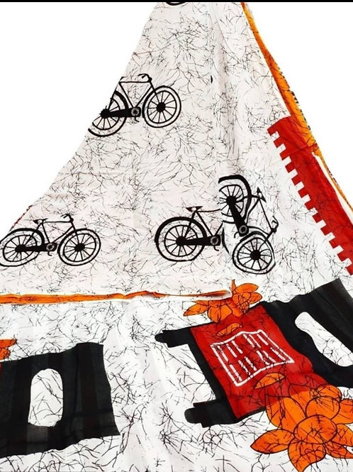 Cycle Printed Cotton Mulmul saree - Green and Orange