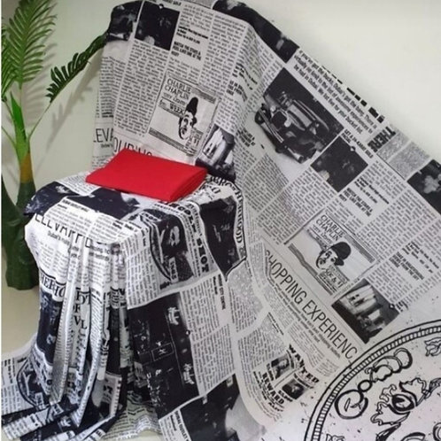 Newspaper Print Black and White Cotton Mulmul saree with Blouse Piece