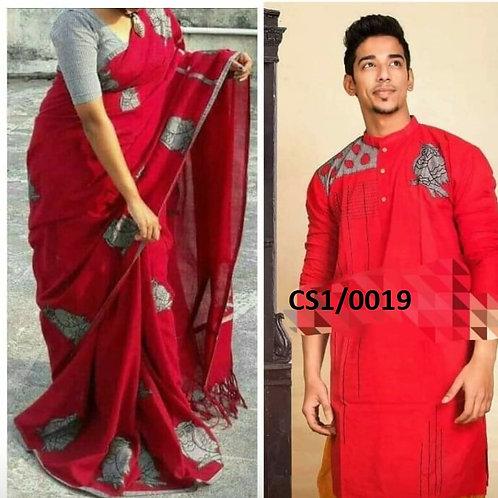 Khadi cotton applique work kurta with Saree Black Red