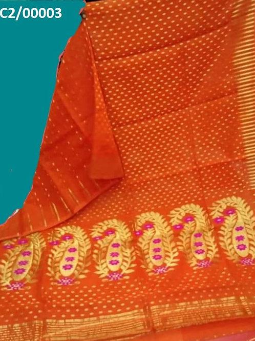 Hazar Butty Jamdani Saree Orange