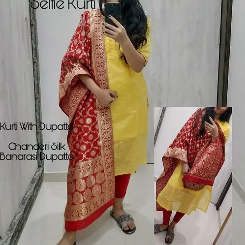 KFS Chanderi Kurti With Banarasi Duptta Set 02