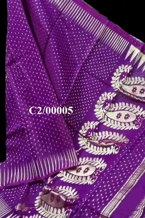 Hazar Butty Jamdani Saree Purple