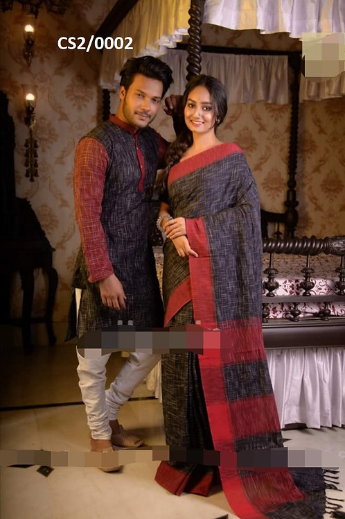 Jharna khadi cotton Kurta with Cotton Saree   Grey and Red